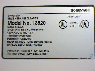Label on the bottom of the honeywell air cleaner.
